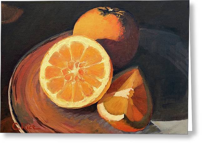 Oranges In Late Afternoon Sunlight Greeting Card