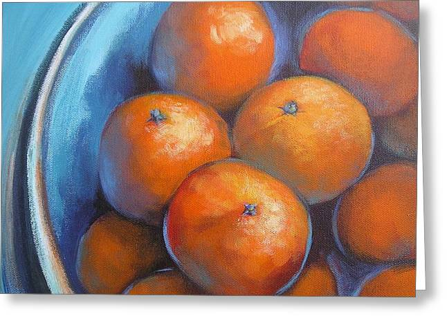 Greeting Card featuring the painting Oranges On Blue Acrylic Original Painting by Chris Hobel