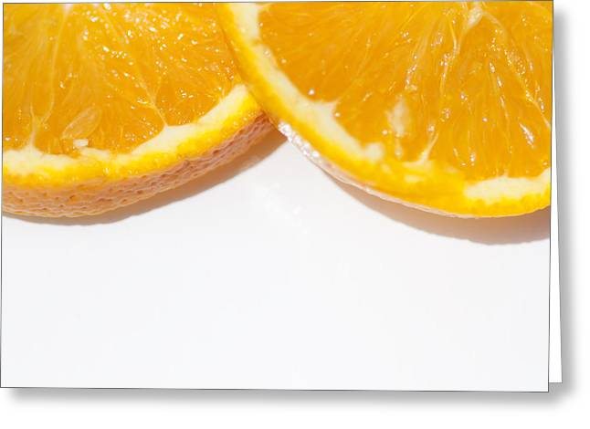 Oranges On White Background Greeting Card by Jorgo Photography - Wall Art Gallery