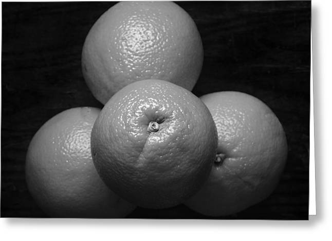 Oranges On Wood Background In Black And White Greeting Card by Donald Erickson