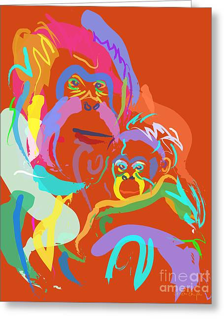 Orangutan Mom And Baby Greeting Card