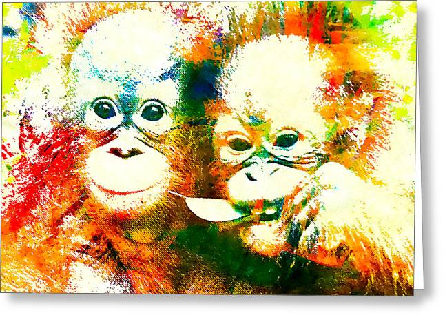 Orangutan Greeting Card by Stacey Chiew