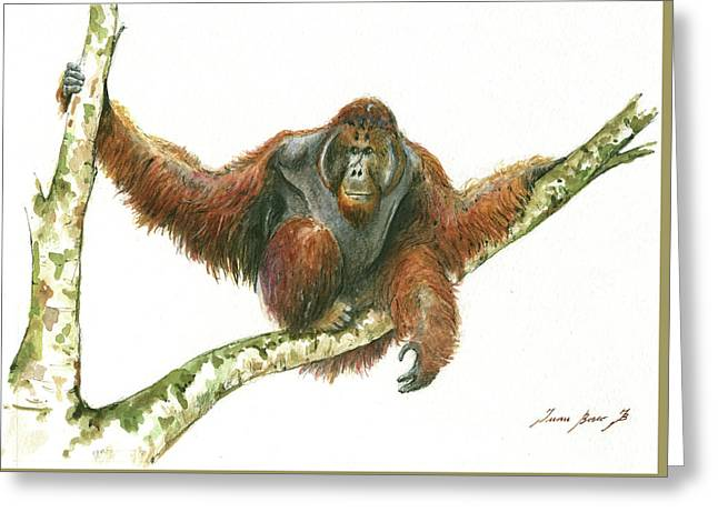 Orangutang Greeting Card by Juan Bosco