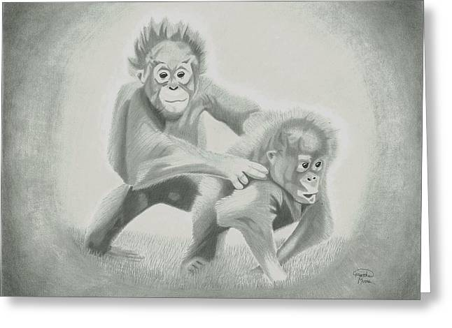 Orangutans Greeting Card by Matthew Moore