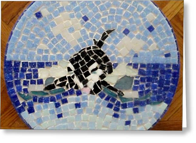 Mosaic Ceramics Greeting Cards - Orca Mosiac Greeting Card by Jamie Frier
