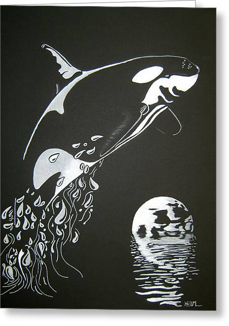 Orca Sillhouette Greeting Card by Mayhem Mediums