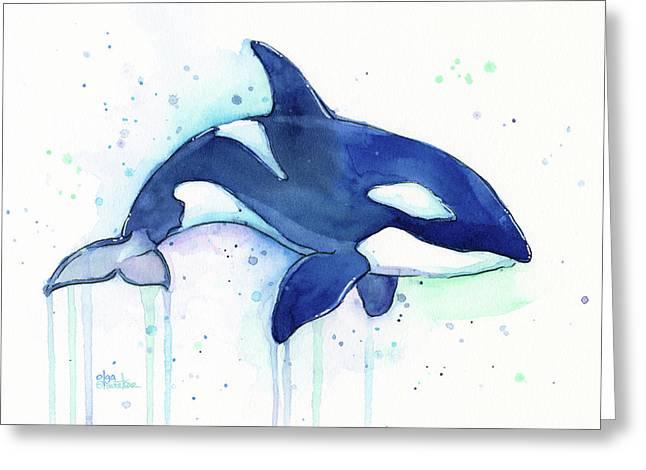 Orca Whale Watercolor Killer Whale Facing Right Greeting Card by Olga Shvartsur