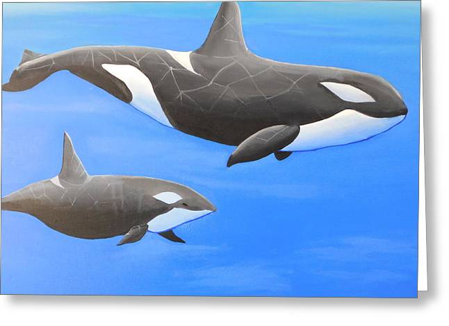 Orca With Baby Greeting Card