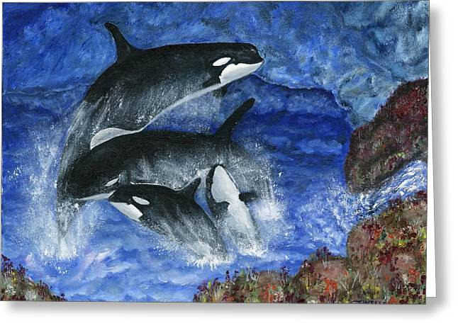 Orcas Family Frolicks Greeting Card by Tanna Lee M Wells