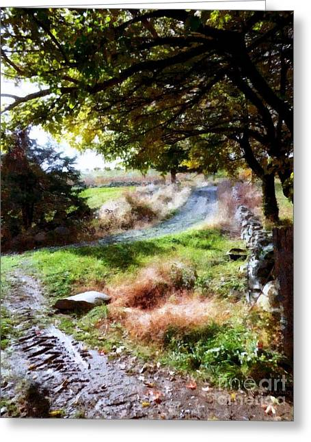 Greeting Card featuring the painting Orchard Country Roads by Janine Riley