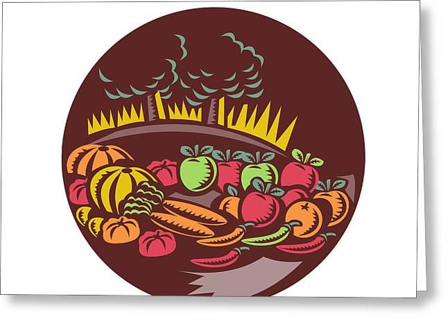 Orchard Crop Harvest Circle Woodcut Greeting Card