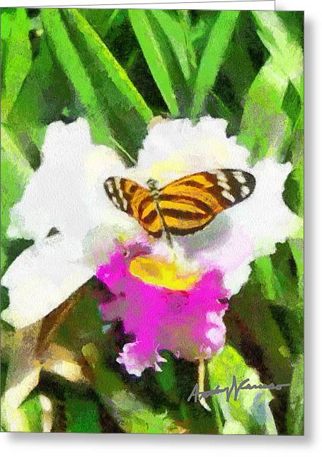 Orchid And Butterfly Greeting Card by Anthony Caruso