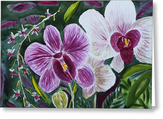 Greeting Card featuring the painting Orchid At Aos 2010 by Donna Walsh