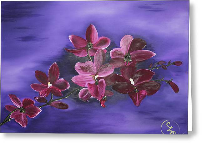 Orchid Blossoms On A Stem Greeting Card