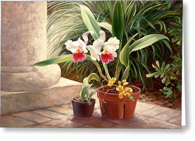 Orchid Duo Greeting Card by Laurie Hein