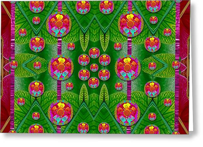 Orchid Forest Filled Of Big Flowers And Chevron Greeting Card