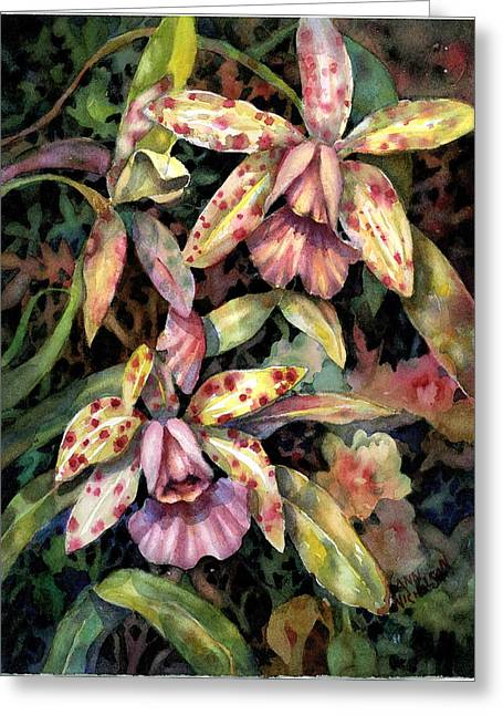 Orchid Garden Greeting Card by Ann  Nicholson