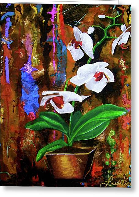Orchid Hi Greeting Card by Laura Pierre-Louis