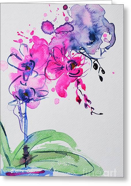 Orchid Improvisation Greeting Card
