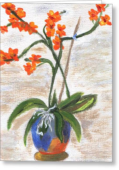 Greeting Card featuring the painting Orchid by Jamie Frier