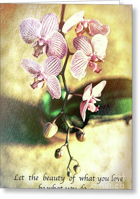 Orchid Love Greeting Card by Chellie Bock