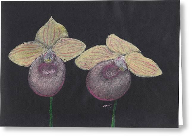 Orchid-paphiopedilum Fanaticum Greeting Card by M Valeriano