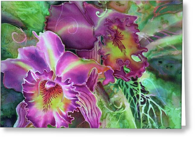 Cattleya Paintings Greeting Cards - Orchid Series 10 Greeting Card by Deborah Younglao