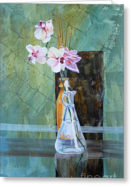 Orchids And A Rose Greeting Card by Janet Felts