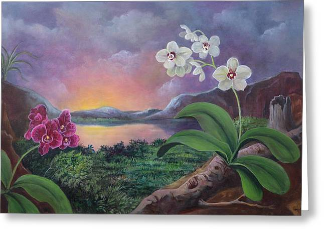 Orchids And Mystery Greeting Card