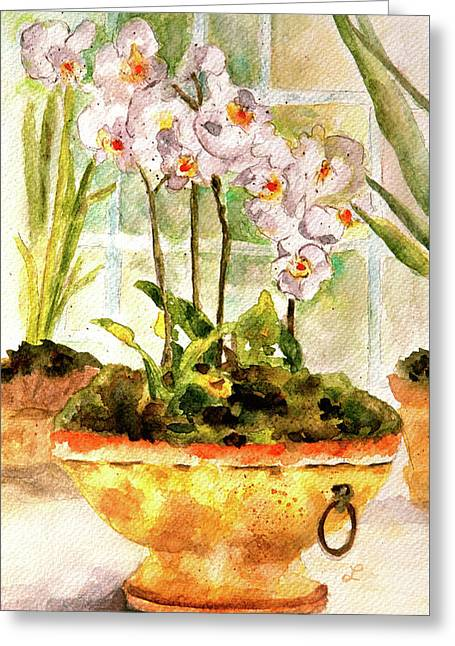 Orchids By The Window Greeting Card by Lynne Furrer