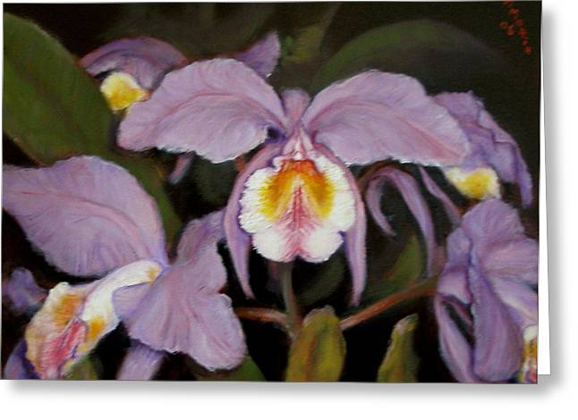 Greeting Card featuring the painting Orchids by Donelli  DiMaria