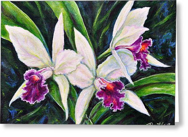 Orchids Greeting Card by Gail Butler