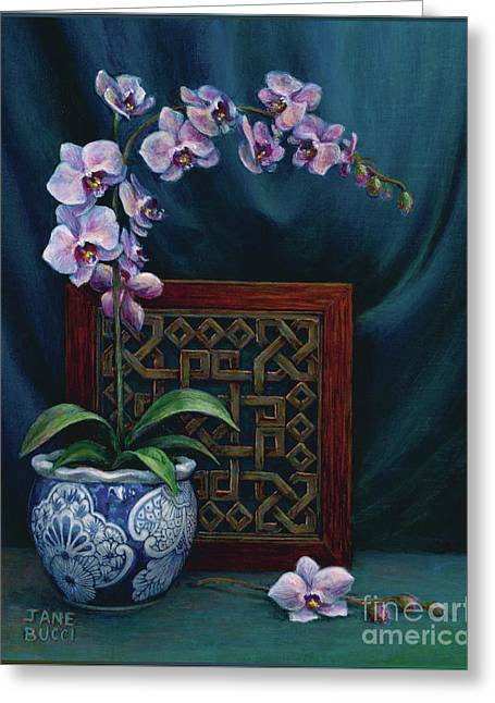 Greeting Card featuring the painting Orchids In A Chinese Pot by Jane Bucci