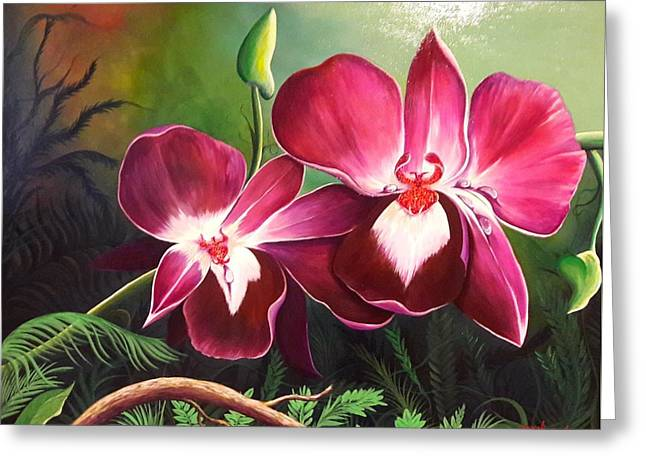 Orchids In The Night Greeting Card