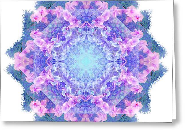 Orchids Mandala Greeting Card