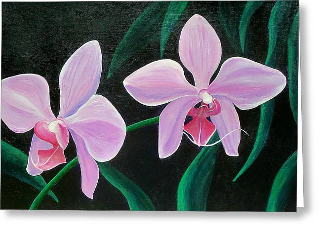 Greeting Card featuring the painting Orchids by Susan DeLain