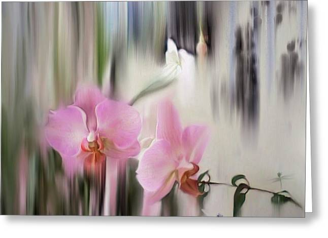 Orchids With Dragonflies Greeting Card