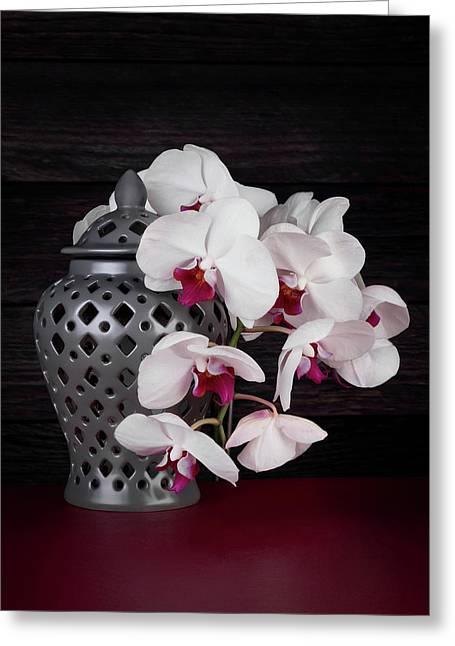 Orchids With Gray Ginger Jar Greeting Card