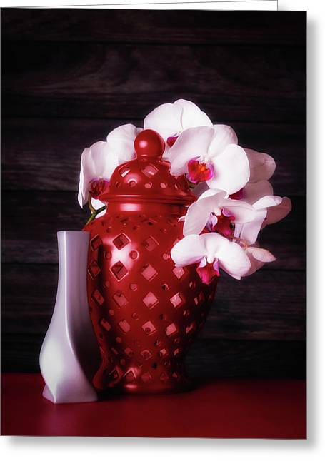 Orchids With Red And Gray Greeting Card