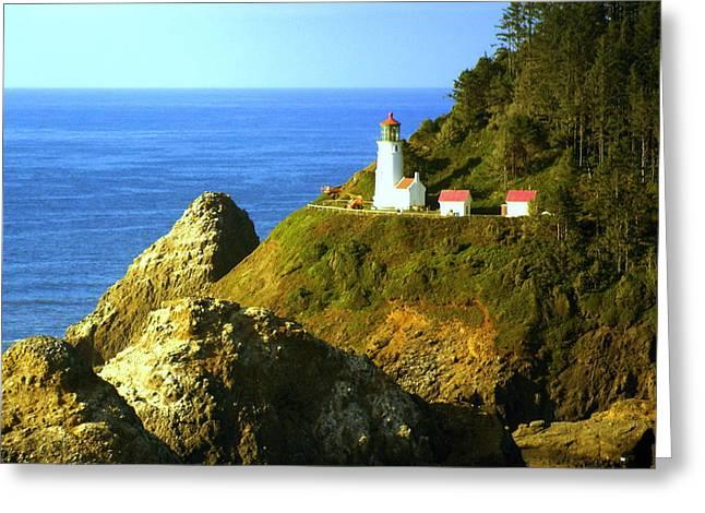 Oregan Lighthouse Greeting Card by Marty Koch