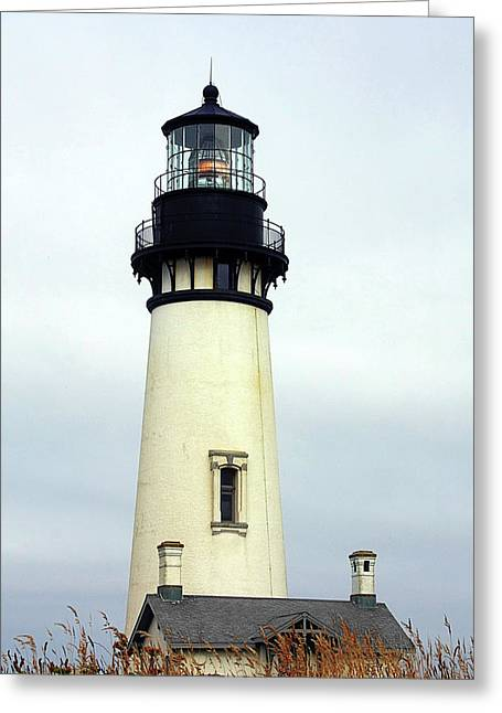 Lamp Greeting Cards - Oregon Coast Lighthouses - Yaquina Head Lighthouse Greeting Card by Christine Till