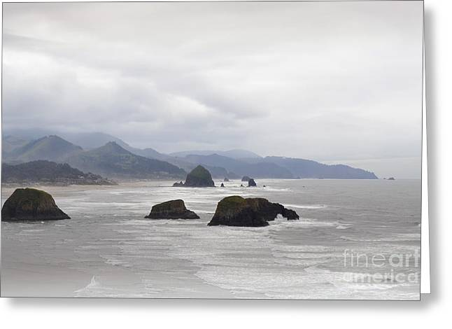 Oregon Coast Mountain Clouds Landscape Greeting Card by Andrea Hazel Ihlefeld