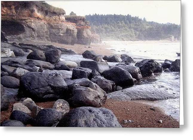 Oregon Coast Rocks Greeting Card by Molly Williams