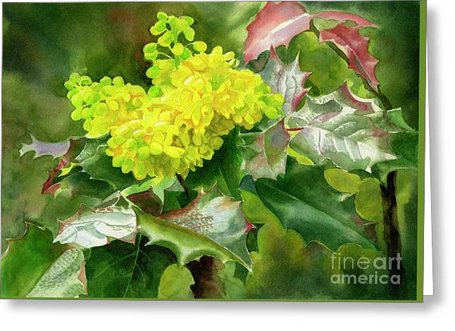 Oregon Grape Blossoms With Leaves Greeting Card by Sharon Freeman