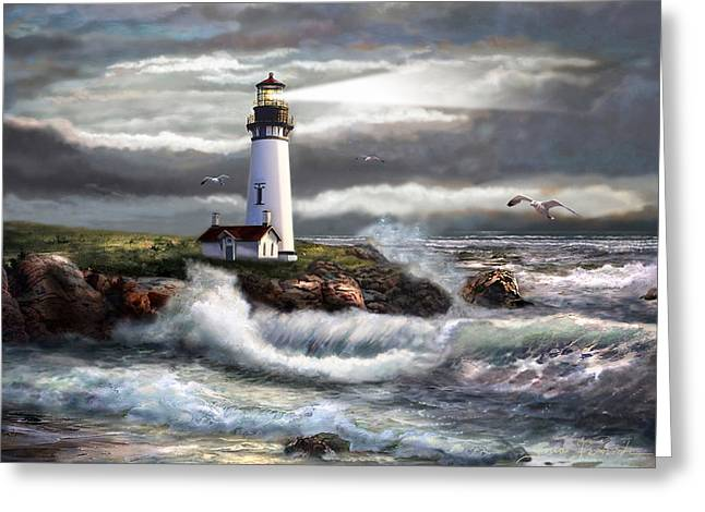 Oregon Lighthouse Beam Of Hope Greeting Card by Regina Femrite
