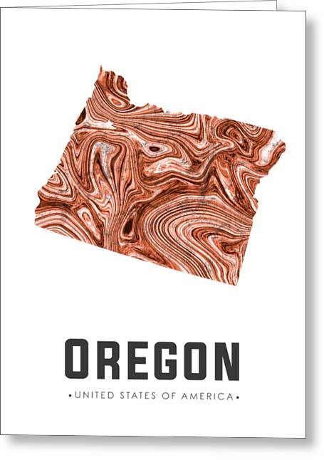 Oregon Map Art Abstract In Brown Greeting Card
