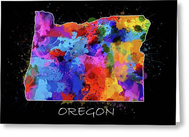 Oregon Map Color Splatter 2 Greeting Card