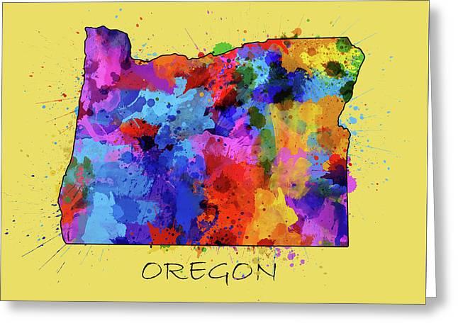 Oregon Map Color Splatter 4 Greeting Card