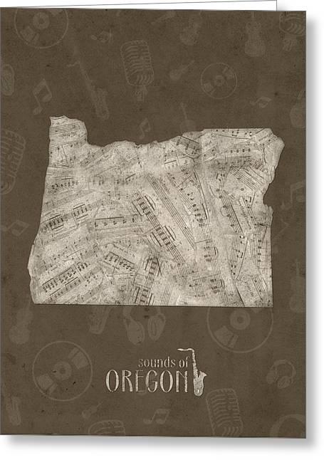 Oregon Map Music Notes 3 Greeting Card