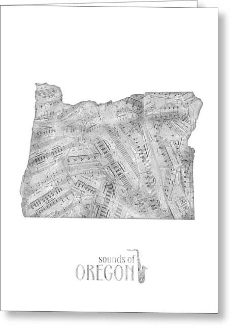 Oregon Map Music Notes Greeting Card